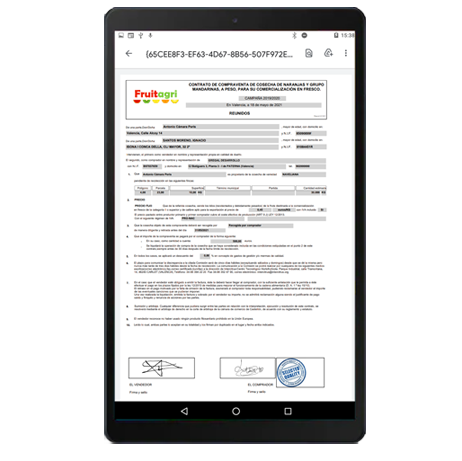 App contratos de compra para centrales hortofrutícolas- datos firmados