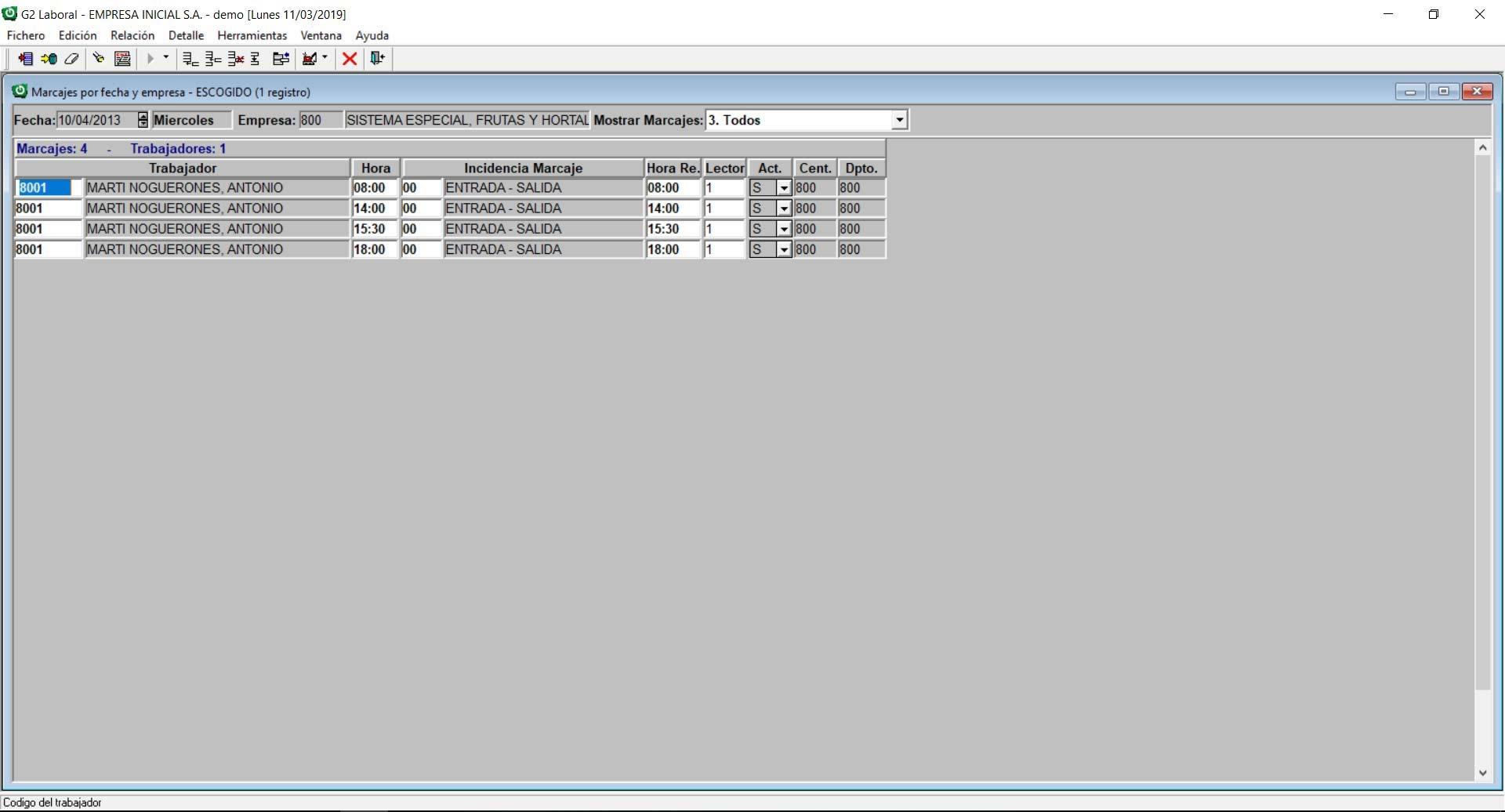 Pantalla software horas control de horas
